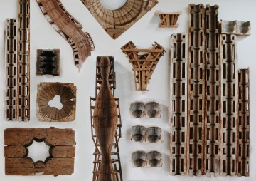 Wooden moulds and form  works at El Castillo