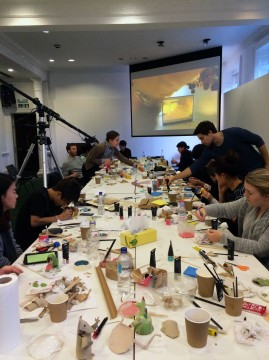 The lecture hall transformed into a craft space.  Image credit: Manijeh Verghese