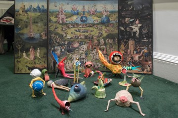 The finished creatures against the tableau of Bosch's triptych Image credit: Valerie Bennett