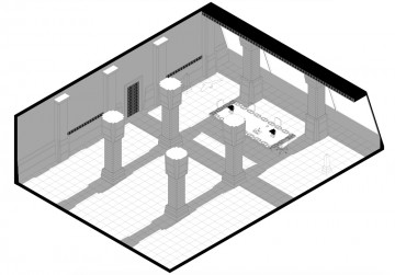 Isometric shadow study drawing of Tyrell's office for initial research into insomnia which is all about light and dark.