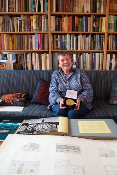 Jean Symons showing her Gold Medal from the Royal College of Physicians Image credit: Samantha Lee
