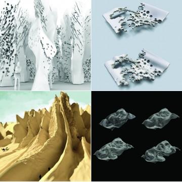 Top Left: 'Between The Lines' by Laith Attar (Iraq); Parastoo Mozaffary (Canada) and Sibylle George (Lebanon).  Top Right: 'Eroded Arteries' by Ti Fu (Canada); Haya AlNibari (Kuwait); Addy Yousef (Jordan) and Luai Farah (Jordan) Bottom Left: 'Mirage' by Angel Firmalino (USA); Mazen AlAli (Jordan) and Dana Taher (Jordan) Bottom Right: 'Ripple Morphologies' by Hala AlHaddid (Jordan); Leyla El Sayed Hussein (Lebanon); Zahraa Makki (Lebanon) and Farah Zarzour (Lebanon)