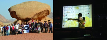 Left Image: 2014 Participants and Faculty in Wadi Rum  Right Image: Ross Lovegrove delivering a keynote lecture 'Out of this World' from the middle of the Wadi Rum Desert.