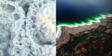 Left Image: Crystalline Formations, Dead Sea - Right Image: Aerial View of Shoreline of the Dead Sea
