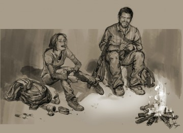 Concept art of Joel and Ellie