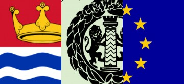Left to right: the arms of the Greater London Council, the RIBA crest, the EU flag