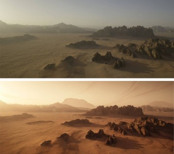 Wadi Rum Before and After editing 'The Martian'. © 2016 Twentieth Century Fox Home Entertainment LLC.