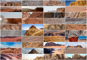 A series of photographs of landscape topologies in the Wadi Rum Desert